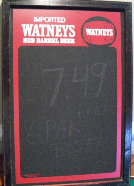 Watney's Red Barrel Beer Chalk Board 1988