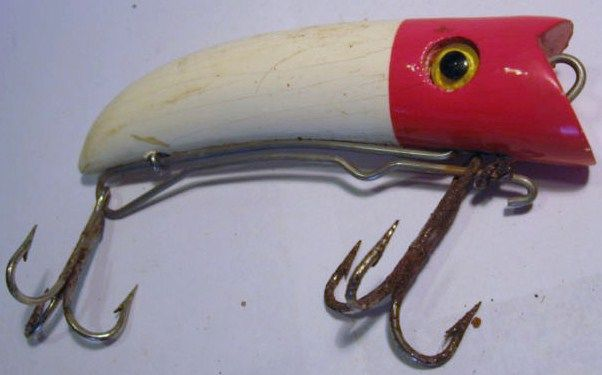 Vintage Wood Nelson Curved Red Head Lure Glass Eyes