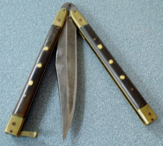 VIntage Wood Handle Butterfly Knife