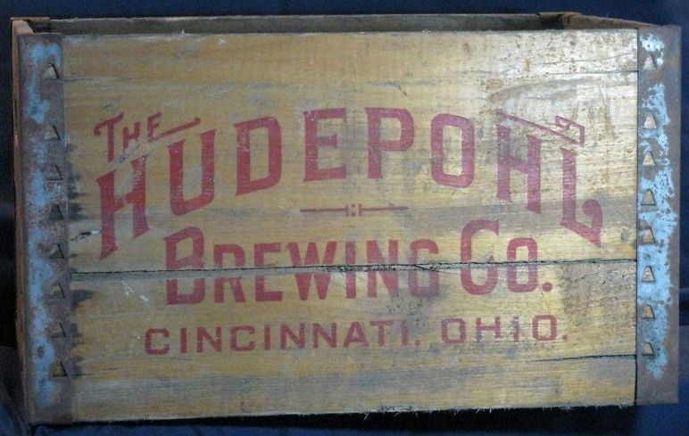 Vintage Wooden Hudepohl Beer Crate Carrier
