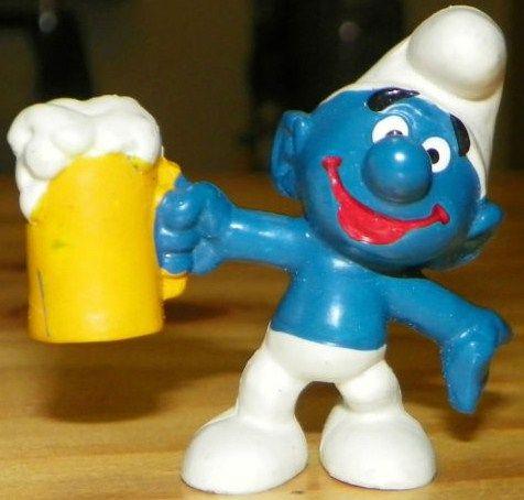 Vintage Beer Smurf PVC Figure 1975 Peyo Schleich