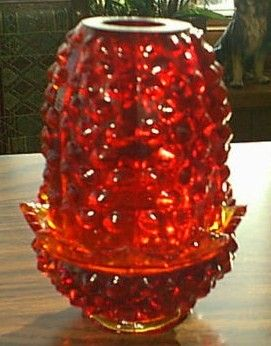 Vintage Fenton Ruby Hobnail Fairy Lamp