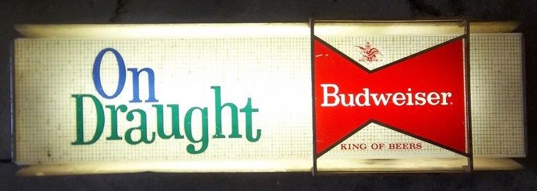 Vintage Original Lighted 1961 Budweiser Beer Sign on Draught
