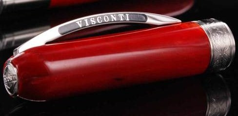 Visconti Rembrant Variegated Red Resin Rollerball Pen-Logo on Clip