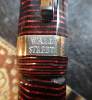 Visconti Wall Street Ballpoint Pen Burgundy Striated Close up Logo on Band