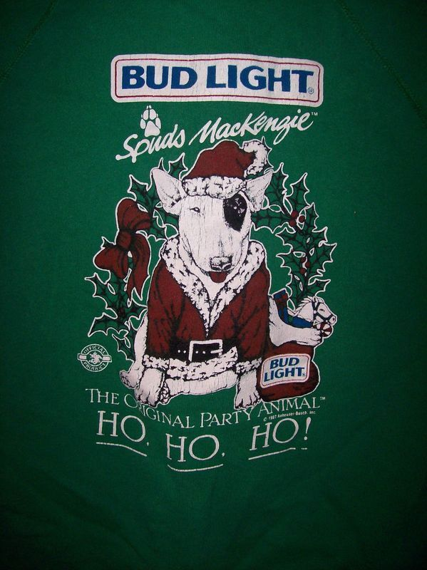 Vintage 1987 Spuds Mackenzie Bud Light Christmas Sweat Shirt
