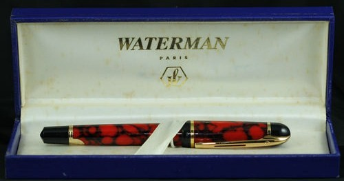 Waterman Phileas Red/Black Marble Fountain Pen Medium Point