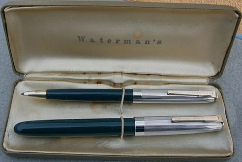 Waterman Set 1950s Kelly Green Gold Silver/Lever Fill