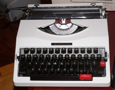 White Portable Chevron Typewriter