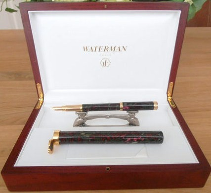 Waterman Lady Agatha Fountain Pen Red-Green w/Holder 18KT fine Nib