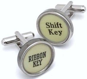 White Function Key Typewriter Cufflinks