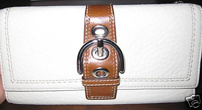 Womens Summer Leather Coach Checkbook Wallet White 41512
