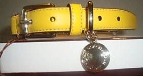 Yellow Leather Designer Dog Collar by Coach