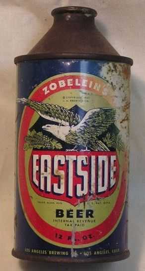 Zobelein's Eastside Beer Cone Top Can 1947/LA Brewing