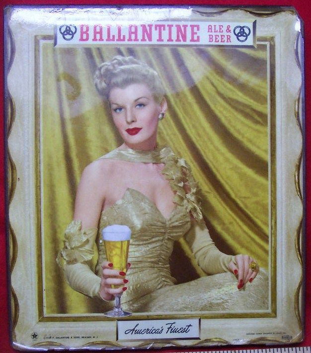 Old Ballantine Newark New Jersey Beer Sign Featuring a Beautiful Woman