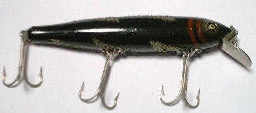 Old Pflueger Mustang Minnow Black Lightening Bolt