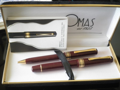 Hard to Find Omas 555F Fountain Pen/Pencil Set-Burgundy Boxed Set