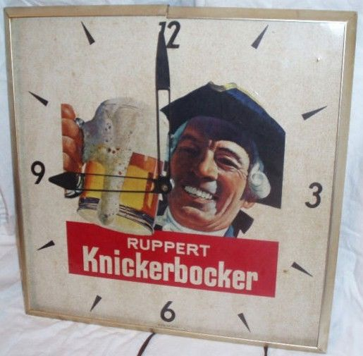 Vintage Square Ruppert Knickerbocker beer clock