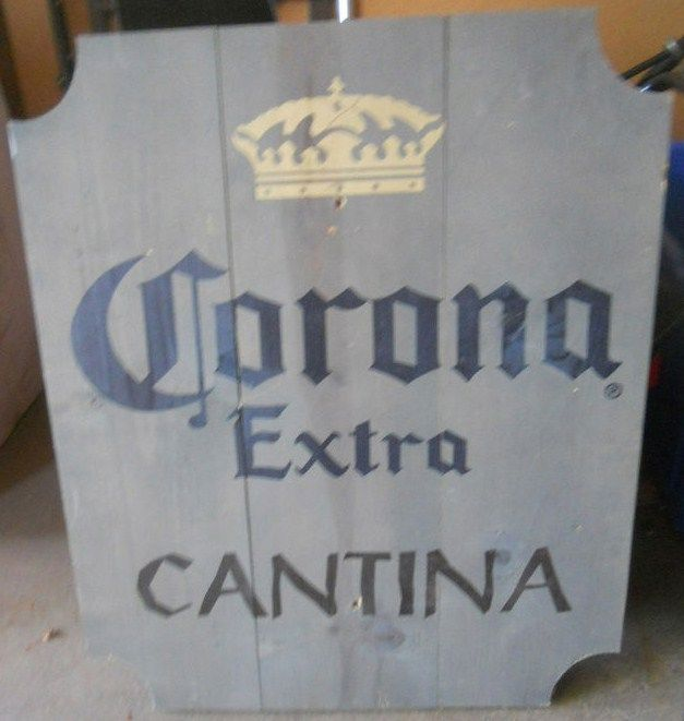 Vintage Corona Extra Big Wood Beer Sign Cantina