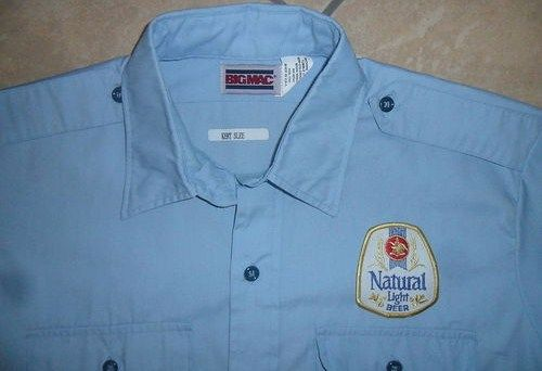 Vintage Natural Light Workshirt Patch Beer Delivery Guy Uniform