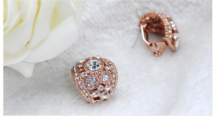 GP Rose Gold Swarovski Crystal Cruve Huggie Earrings Laday Gift