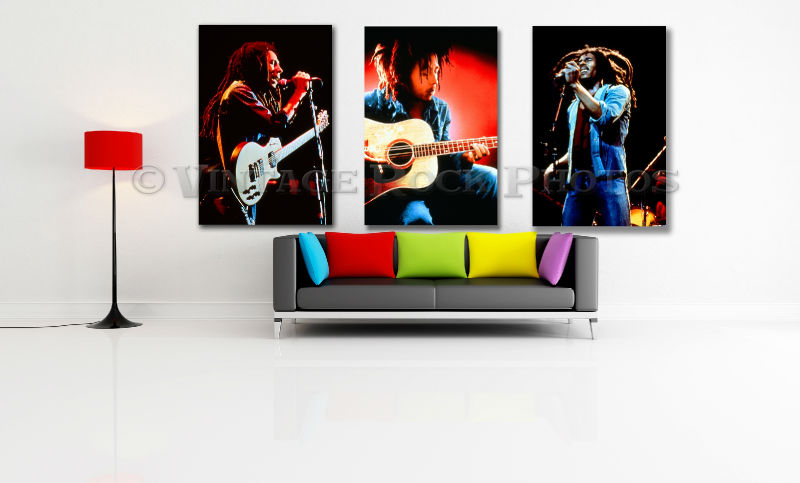 "Bob Marley 20x30"" Fine Art Gallery Canvas Framed Gilcee Studio Prints Set of 3"