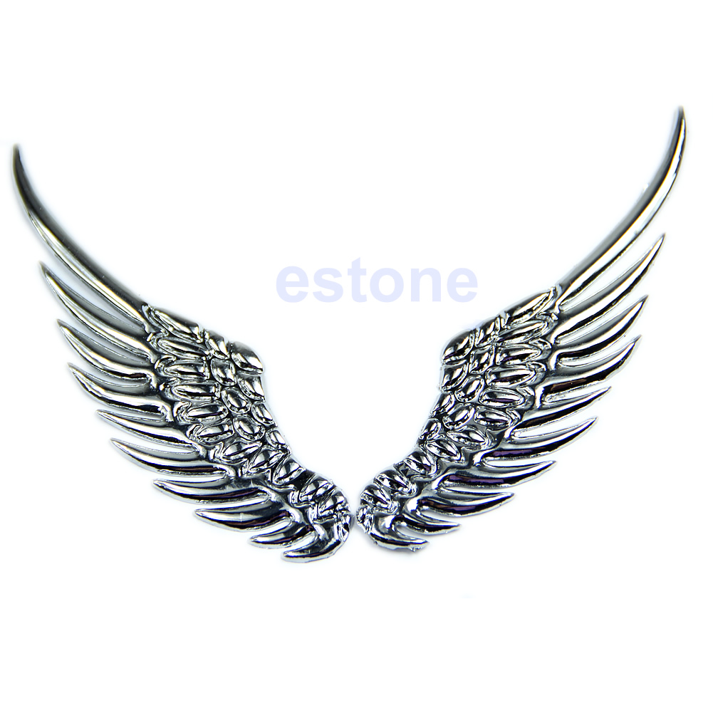 D Alloy Metal Silvery Angel Wings Car Emblem Badge Logo Sticker - Car sign with wings