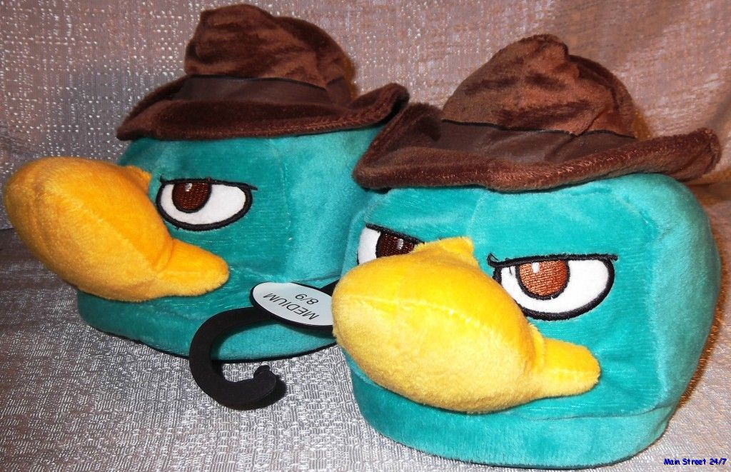 Phineas-amp-Ferb-PERRY-THE-PLATYPUS-Agent-P-Men-039-s-Plush-SLIPPERS