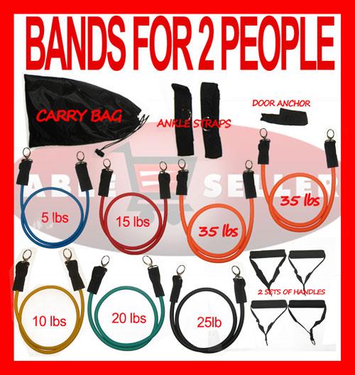 Exercise Bands Bar: NEW CHIN UP BAR 7 RESISTANCE BANDS 145LB SET 4 P90²X