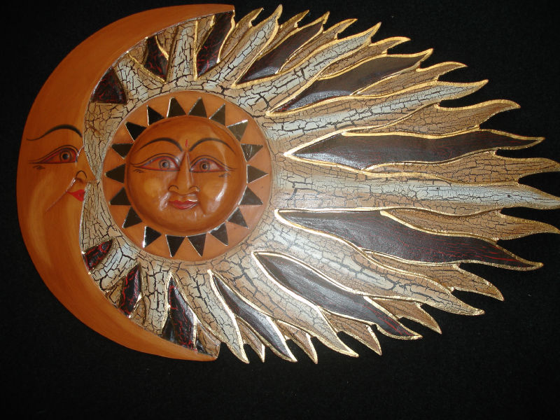 sun moon sunburst celestial decor mosaic hand carved wall art bali red ebay. Black Bedroom Furniture Sets. Home Design Ideas