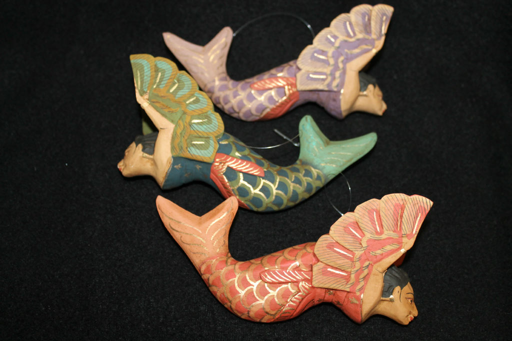 Christmas Mermaids Made From Wood And Hand Painted