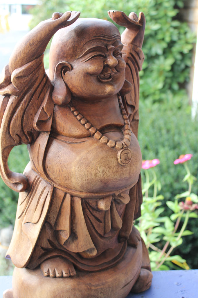 Joyful laughing fat buddha good fortune hotei statue wood for Does buddha bring good luck