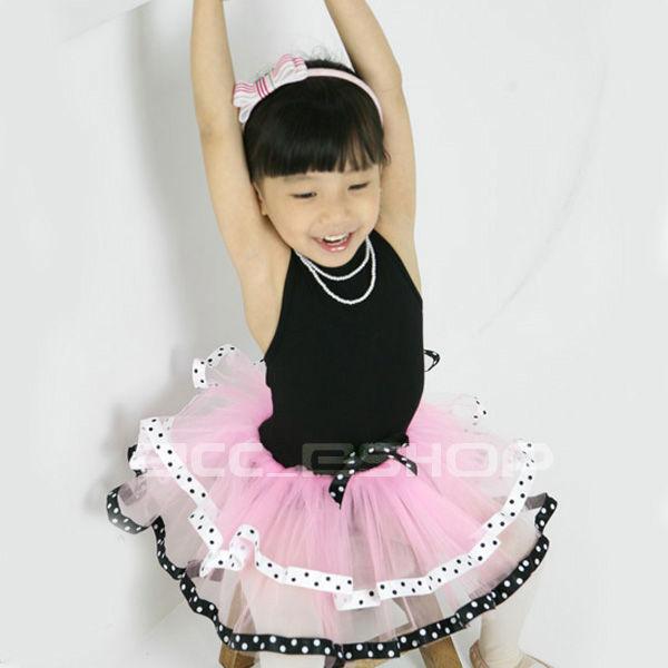 Girls-Black-Pink-Ballet-Dance-Costume-Tutu-Dress-SZ-2-8