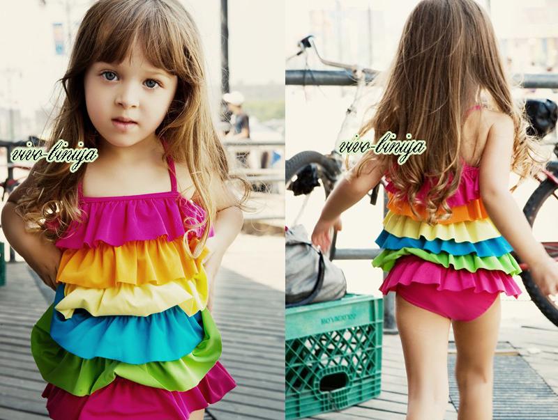 Girls-Rainbow-Ruffle-Layered-Swimsuit-Swimwear-Tankini-Swimming-Costume-2-7Y-NWT