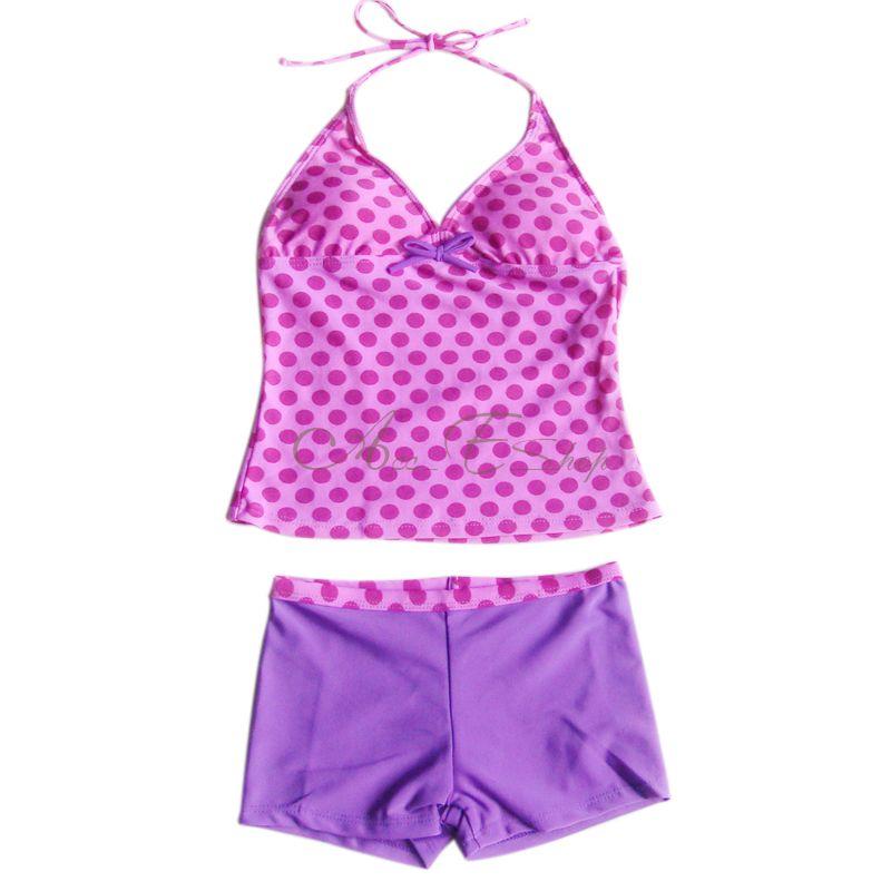 Girls Polka Dots Tankini Swimsuit Swimwear Swimming ...