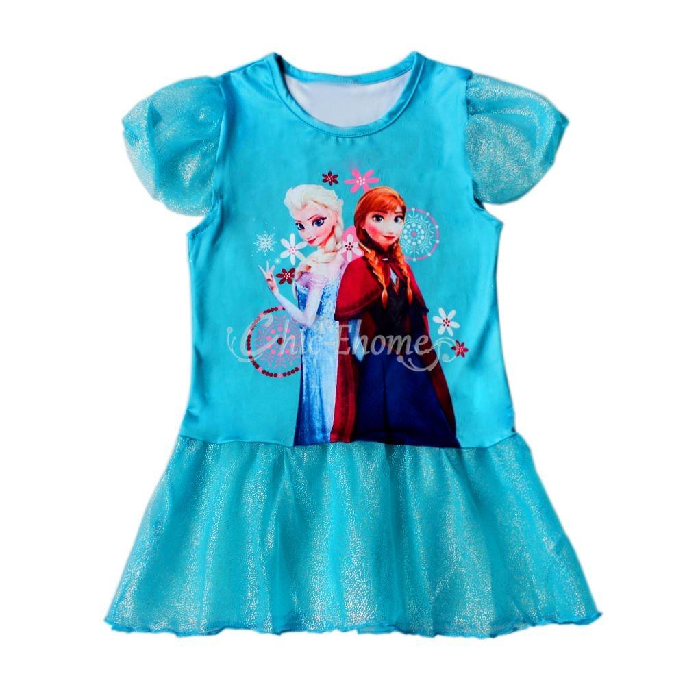 Frozen Eiskönigin Elsa Tunika TuTu Kleid Glanz Kostüm Partykleid ...
