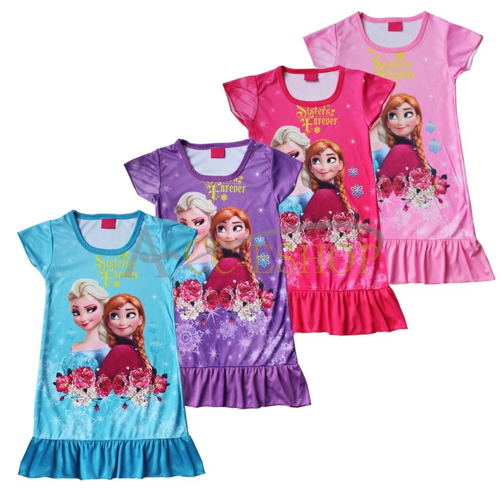 frozen eisk nigin anna elsa kleid kost m pyjama m dchen nachthemd nachtw sche ebay. Black Bedroom Furniture Sets. Home Design Ideas