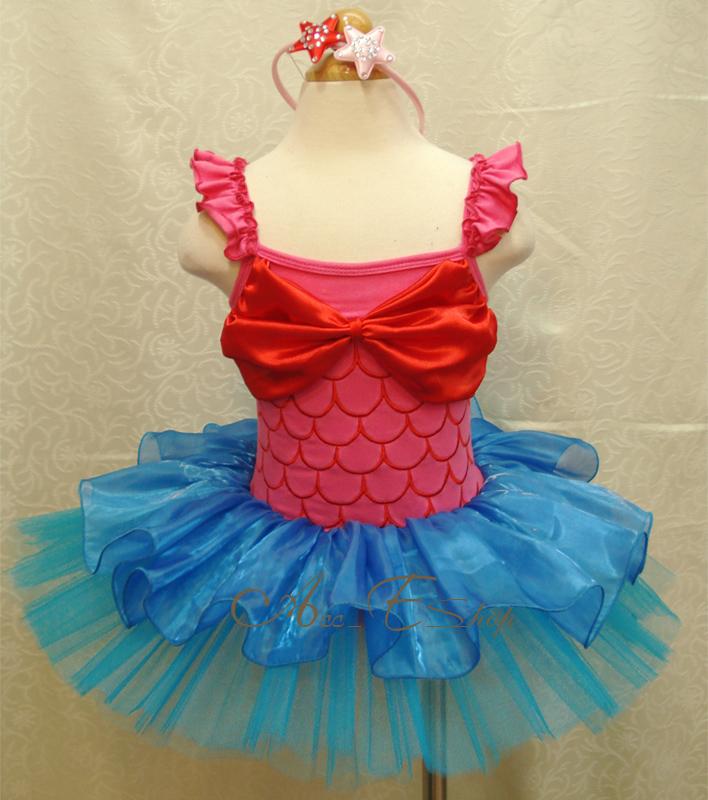 Girls Kids Ariel Mermaid Costume Dress Skirt Sz 2-8Y Ballet Fancy Tutu Outfit