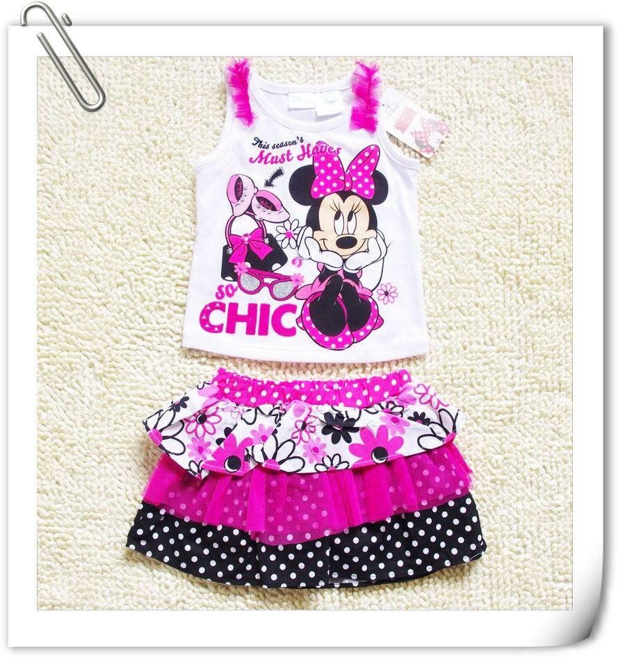 Minnie-Mouse-Girls-Fancy-Summer-Top-T-Shirt-Dress-Tutu-Skirt-Outfit-2-5-Years