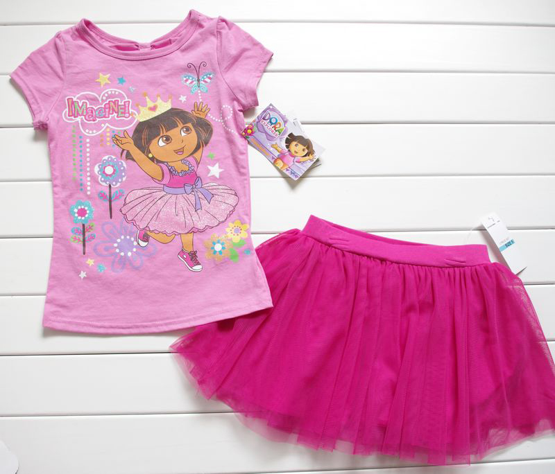 Girls-Baby-2-7Y-DORA-THE-EXPLORER-Top-T-Shirt-Dress-Pants-Tutu-Skirt-Outfit-NWT