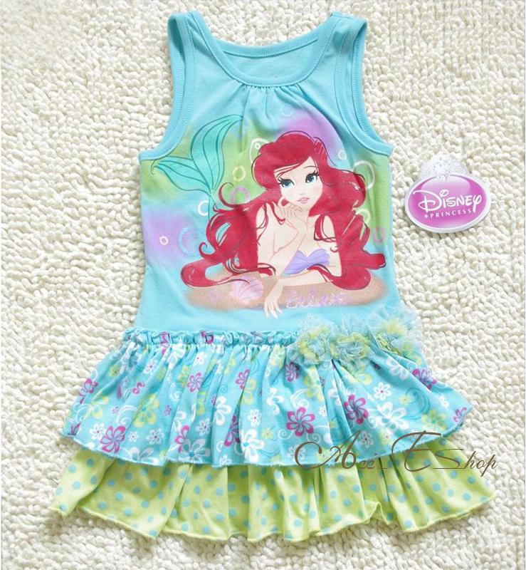 Girls-Kids-Size-2-3-4-5-6-6X-Disney-Princess-Ariel-Mermaid-Summer-Dress-Skirt
