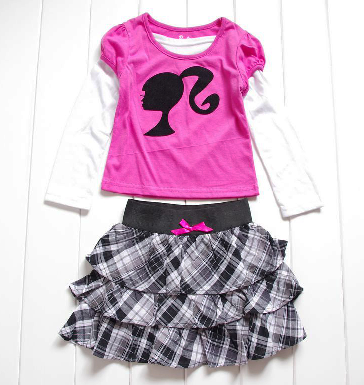 Girls-Kids-4-7Y-Barbie-Princess-Costume-Top-T-Shirt-Dress-Up-Tutu-Skirt-Outfit