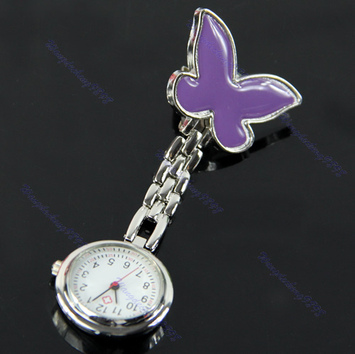 New-Butterfly-Nurse-Clip-on-Fob-Brooch-Pendant-Hanging-Pocket-Watch-Fobwatch