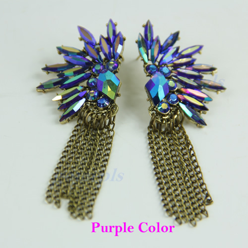Vintage-Boho-Luxury-Colorful-Shiny-Crystal-Flower-Chain-Tassels-Ear-Stud-Earring