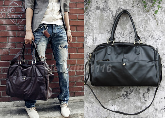 Large-Leather-Mens-Women-Duffle-Sports-Shoulder-GYM-Schoolbag-Handbag-Travel-Bag