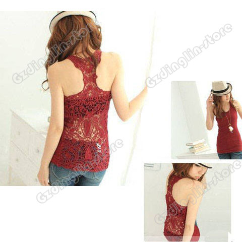 Sexy Shirt Top Hollow out Vest Camisole Pierced Lace #015