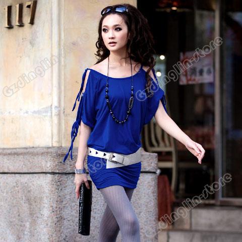 Women-Korea-Off-Collar-Strappy-Mini-Dress-Long-Top-018