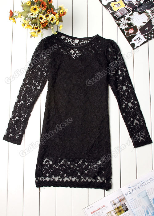 100% BRAND NEW.  Women's Sexy Long Sleeve Stylish Lace Mini Dress 090.