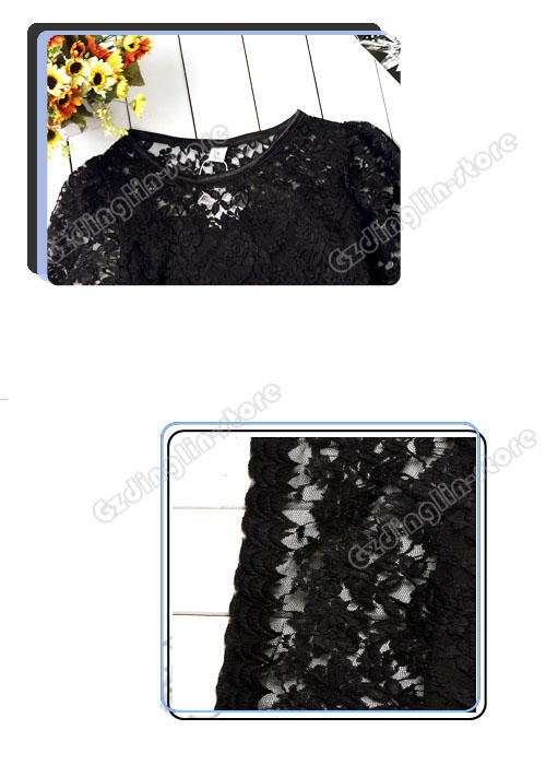 """Черное кружевное прямое мини-платье  """"Черный лебедь """""""