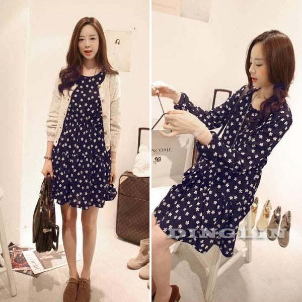 Fashion-Womens-Lady-Short-Wave-Sleeve-Crew-Neck-Chiffon-Casual-Mini-Dress-101